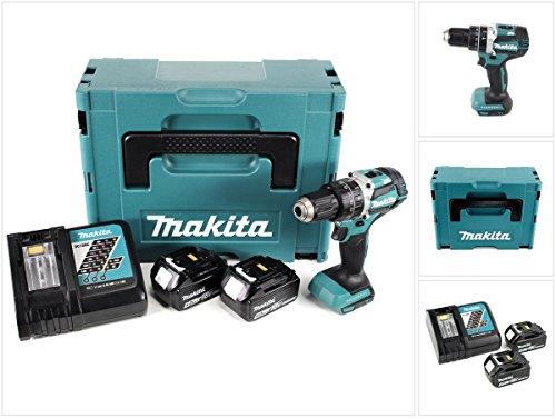Makita DHP 484 RMJ 18V Brushless Li-Ion Akku Schlagbohrschrauber im Makpac inkl. 2x BL 1840 B 4,0 Ah Akku und DC18RC Ladegerät