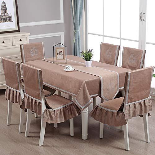 HYSJLS 5pcs / Set Tischdecke Art Rechteckige Baumwolle Leinen Frische Karierte Tischdecke Stuhl Mat Dining Chair Set Haus Stuhl-Abdeckung Set Tische Cover Leinendecke (Color : Brown)