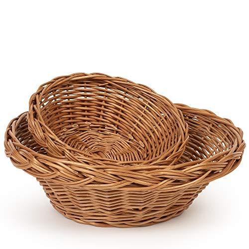 TYSK Design Brotkorb 2er-Set (20 + 30 cm Durchmesser) - Brotkörbchen, Korb geflochten aus Weide, Weidenkorb, Weidenkörbchen