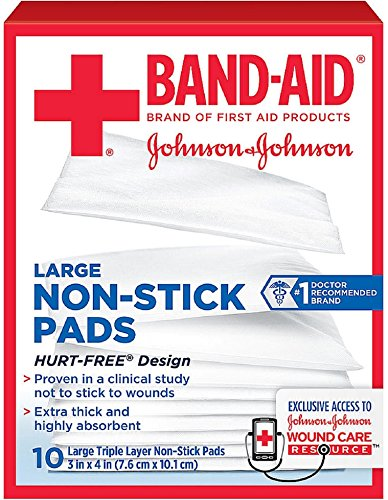 BAND-AID First Aid Non-Stick Pads, Large, 3 in x 4 in, 10 ea (Pack of 7)