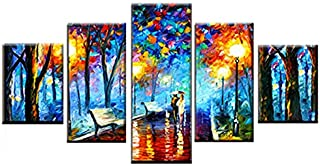 FUZI00 5 Piece Wall Art Canvas Prints Canvas Print Poster Home Decor Wall Art Walk in Rainy Night Scene Picture Abstract Color Tree Painting Framed (31.5X59 Inch