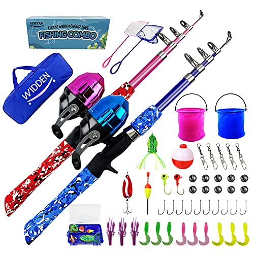 WIDDEN 2 Pack Kids Fishing Pole, Portable Telescopic Kids Fishing Poles Set for Boys and Girls, Fishing Rod and Reel Combo Kit with Tackle Box, and Fishing Net, Best Fishing Pole for Toddler Youth