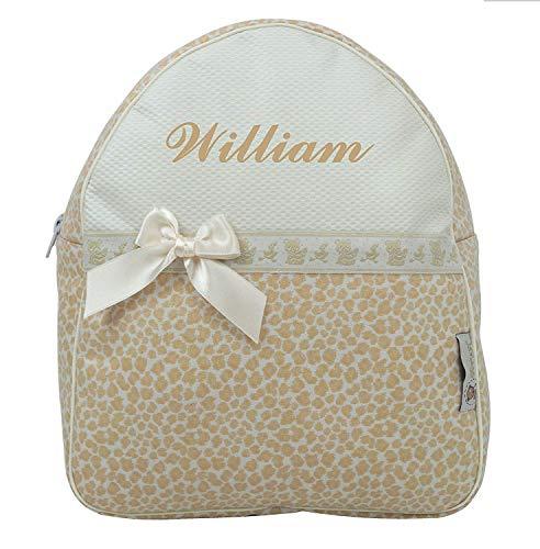 Der Rucksack, der Schulrazen, der Schultasche oder Kindergartentasche mit der Name personalisiert. Der Modell: Gabriela (Beige)