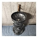YQX Fregadero De Pedestal Retro, Lavabo con Pie De Estilo Industrial, Lavamanos Baño Creativo con Combinación De Grifo Y Drenaje para Cibercafés Bares 46x46x87cm(Color:Plata)