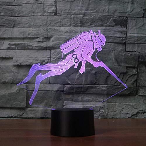 XDOUBAO Diver Natación Forma de Buceo Acrílico 7 Colores Lámpara de Escritorio Lámpara 3D Lámpara de Novedad Regalo Noche Luz Millennium Falcon Luz