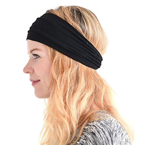 Charm Damen-Stirnband, Bandana zum Laufen– elastisches Schweißband für den Kopf, Herren -  Schwarz -  Einheitsgröße