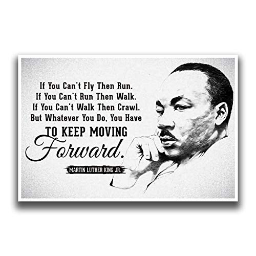 JSC455 Keep Moving Forward Martin Luther King Jr Quote Poster Drawn Portrait | 18-Inches By 12-Inches | Motivational Inspirational | Premium 100lb Gloss Poster Paper