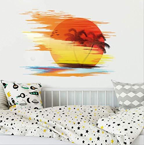 Stickers Muraux Pvc Mur Coucher Du Soleil Paysage Seascape Island Mer Arbres De Noix De Coco Ornement De Ménage Peut Supprimer Le 50X70Cm