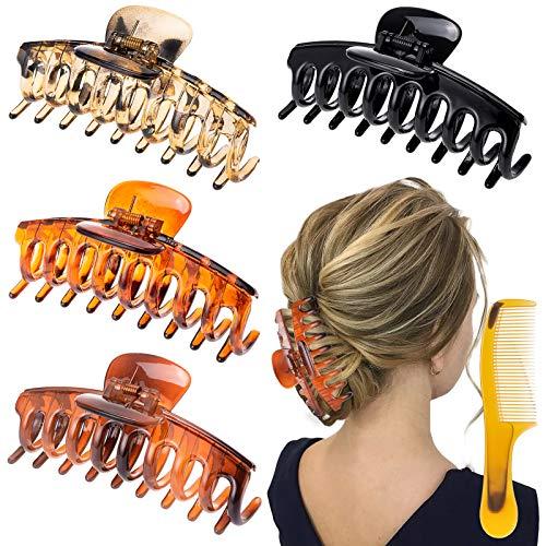 4 Stück Große Haarklammer, Haarspangen Groß Klaue Clips, Rutschfeste Haarspangen Haarkrallen Haarklammern mit Kamm für Frauen Mädchen Damen