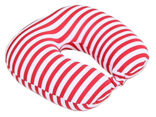 Twist Memory Foam Travel Pillow for Neck, Chin, Lumbar and Leg Support - For Traveling on Airplane, Bus, Train or at Home - Best for Side, Stomach and Back Sleepers, Adjustable (Red-White)