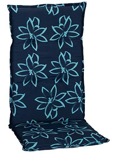 Beo Gartenstuhlauflagen Hochlehner UV-beständig Barcelona | Made in EU nach Öko-Tex Standard | Hochlehner Auflagen waschbar | Atmungsaktive Stuhlauflagen Hochlehner mit Blumen in Hell-Blau