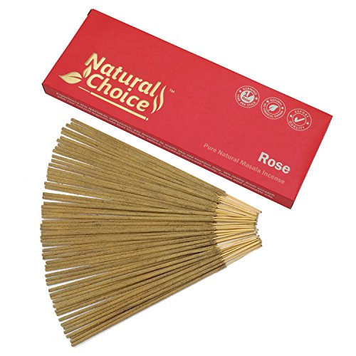 Natural Choice Incense Rose Incense Sticks 100 Grams - Low Smoke Traditional Incense Sticks Made from Scratch, Never Dipped