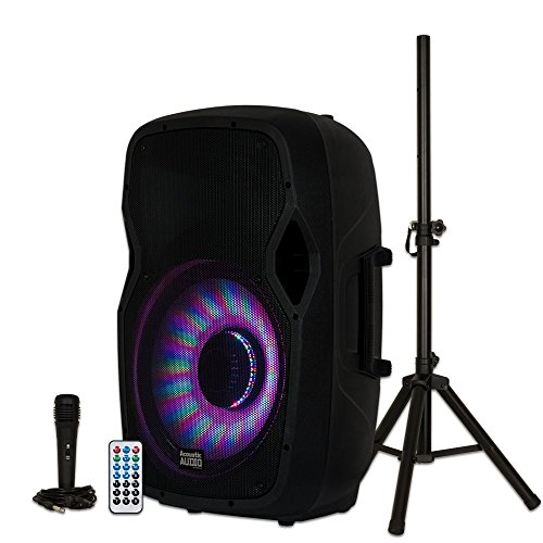 "Acoustic Audio by Goldwood AA15LBS Powered 15"" Bluetooth LED Light Display Speaker with Microphone and Stand, Black, 16"" x 14"" x 27"""