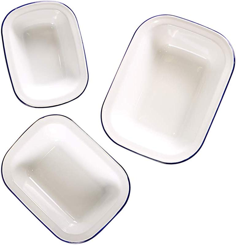 Webake Enamelware Roasting Pan 3 Pack Enameled Steel Oblong Pie Pan Pie Dish Roaster Pan Food Containers Solid White With Blue Rim