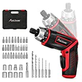 AVID POWER Electric Screwdriver Set Rechargeable 4V Cordless Screwdriver Kit with 44pcs Accessories, 5.65Nm Screw Gun,5+1 Torque Setting, 2 Position Handle with LED Light