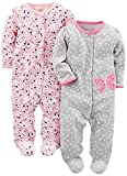 Simple Joys by Carter's Baby Girls' 2-Pack Cotton Footed Sleep and Play, Gray Butterfly/Pink Floral, 0-3 Months