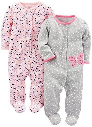 Simple Joys by Carter\'s Baby Mädchen 2er Pack Baumwolle Fuß Schlafen und Spielen ,Gray Butterfly/Pink Floral ,6-9 Months