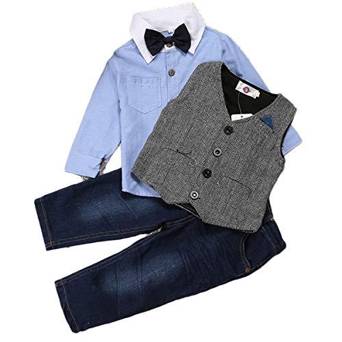 ZNMJW Baby Gentleman Anzug Frühling und Herbst schöner Gentleman Boy Jeansanzug, Hemd + Weste + Jeans 3 Sätze-3T