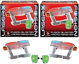 LaserX 2 Pack Fusion Blaster + Micro Receiver, Blaster Toy - One Player Each Pack - 30 Feet x 20 Wide Range - Fun for at Home or Outdoor Entertainment
