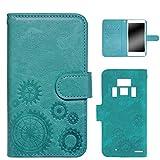 WHITENUTS REGZA PHONE T-01D ケース 手帳型 エンボスデザイン ターコイズ/歯車 TC-D0073917/M