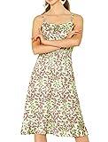 Allegra K Vestido Floral Dobladillo con Volantes Cintura Fruncido Fluido Correa De Espagueti Paara Mujeres Verde L