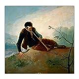 Francisco Goya Pastor Jugando A Una Dulzaina Impresiones CláSicas PóSter ArtíStico Figura Cuadro Decoracion De La Pared del Hogar Lienzo Pintura Al óLeo 40x40cm Sin Marco