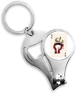 DIYthinker Playing Cards Diamond K Pattern Key Chain Ring Toe Nail Clipper Cutter Scissor Tool Kit Bottle Opener Gift