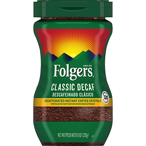 Folgers Classic Decaf Decaffeinated Instant Coffee Crystals 8 Ounces