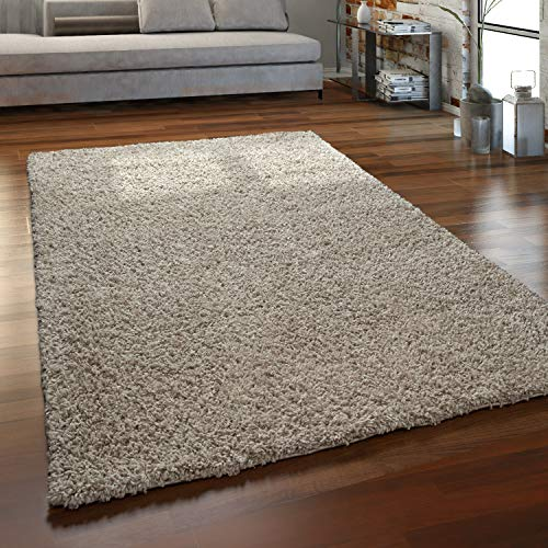 Paco Home Hochflor Teppich Wohnzimmer Shaggy Langflor Modern Einfarbig Ohne Muster, Grösse:140x200 cm, Farbe:Beige