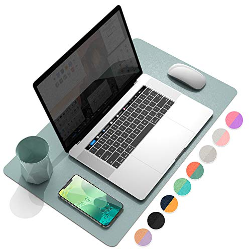 """YSAGi Multifunctional Office Desk Pad, Ultra Thin Waterproof PU Leather Mouse Pad, Dual Use Desk Writing Mat for Office/Home (23.6"""" x 13.7"""", Glaucous Green+Orange)"""