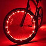 Wheelbrightz LED Bicycle Wheel Lights, Red – 2-Pack Bundle for 2 Tires – Bright Colorful Light for Bikes – Fits Front or Rear Tire – Weather Resistant Tube with Battery Pack