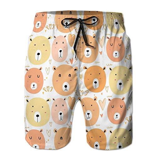 Bañador de baño de Secado rápido para Hombre Pantalones Cortos de Playa con diseño de Osos Lindos Dibujados a Mano Fondo Divertido Doodle Elementos Hechos a Mano
