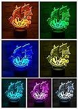 Luz de noche LED Velero Decoración 3D Ilusión Niños Niños Bebé Luz de noche Barco antiguo Lámpara de mesa Dormitorio Retro Barco