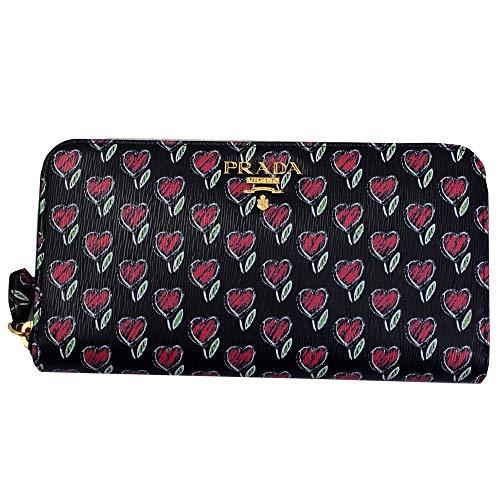 Prada Geldbörse 1ML506, Leder, Herz-Blumendruck, Reißverschluss, Schwarz