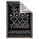 Fashion4Home Alfombra de pasillo – Alfombra para salón, dormitorio, cocina, habitación de los niños, baño – Boho Kelim – Alfombra de pasillo negro y blanco Tamaño: 80 x 150 cm