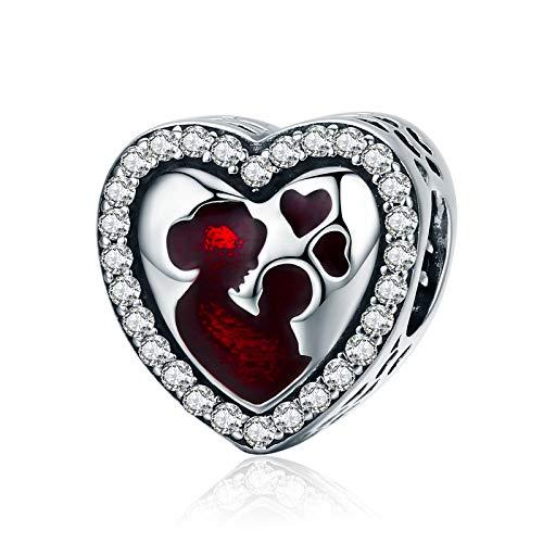 Las madres aman el corazón Los encantos de las mujeres Joyería de Pandora Plateado Venta de abalorios Barato Cubic Zirconia es el mejor regalo para el Día de la Madre, el Día de San Valentín