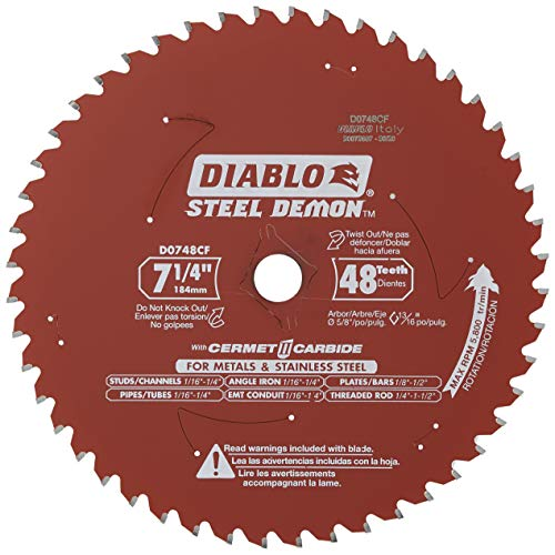 Freud Diablo DO748F Diablo Steel Demon 7 1/4 Inch 48-Tooth Titanium Carbide TCG Ferrous Metal Cutting Circular Saw Blade w/ Perma Shield Non-Stick Coating and Laser Cut Stabilizing Vents