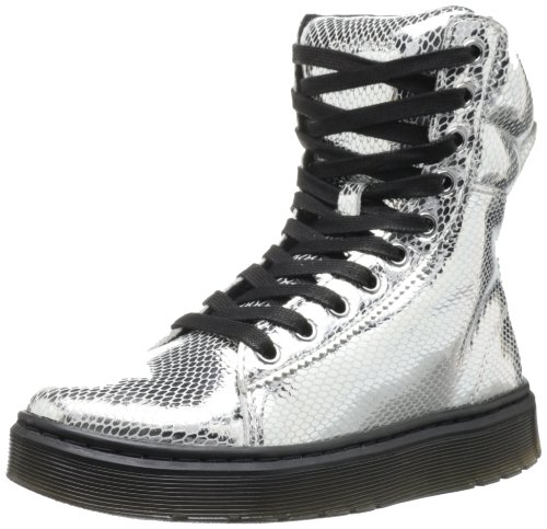 Dr. Martens Mix Mini Metallic Snake Damen Sneaker, Schwarz - Noir (Silver), 40 EU