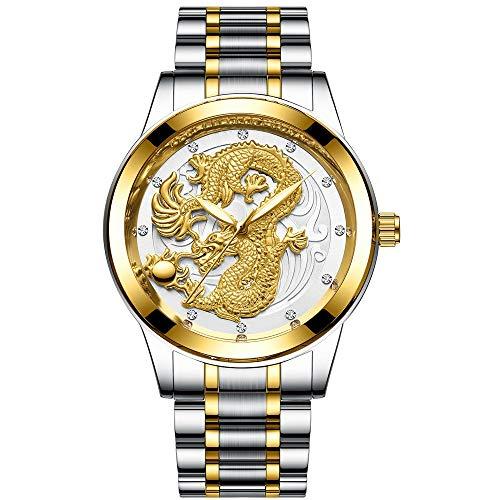 Sqddsg Montre Mécanique de Sport Hommes Montre Non Mécaniques Montre Étanche À l'eau Dragon d'or Lumineux Et Montre Deux Phénix Quartz Mince Bande (Color : Gold-White Noodles)