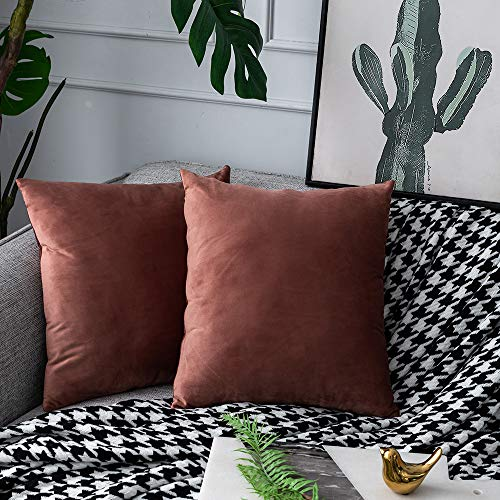 UPOPO Juego de 2 fundas de cojín de terciopelo, decorativas, de un solo color, para sofá, dormitorio, salón, con cremallera, 60 x 60 cm, mermeladas