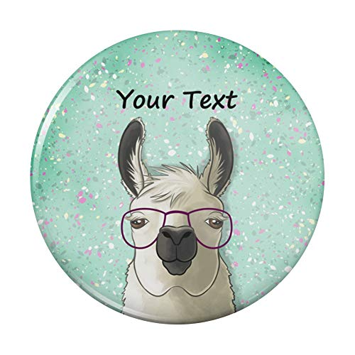 Personalized Custom Hip Llama with Glasses 1 Line Pinback Button Pin