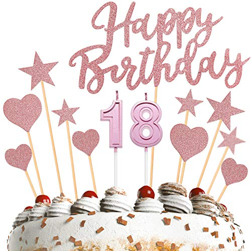13 Pieces 18th Birthday Candles Numeral Candles Number 1 and 8 Happy Birthday Cake Topper Love Cake Topper Star Cake Topper for Birthday Wedding Anniversary Celebration Supplies (Rose Gold)
