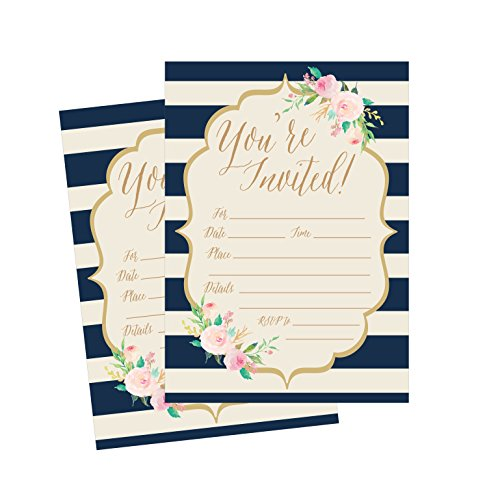50 Floral and Navy Stripe Party Invitations