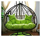ZHANGYN Hanging Basket Hanging Egg Chair Cushions Hanging Egg Hammock Chair Pads, Without Stand Multi Color Swing Seat Cushion Thick Nest Hanging Chair Back with Pillow Home Decor (Color : Green)