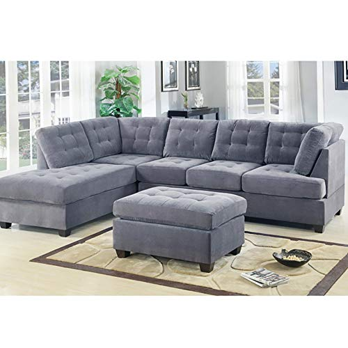 Casa AndreaMilano 2 Piece Modern Grey Soft Tufted Micro Suede Sectional Sofa Couch with Reversible Chaise & Ottoman, L Shaped Sectionals (Grey)