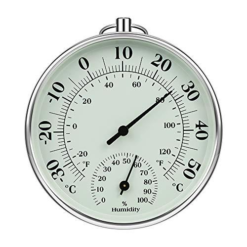 iMangoo Termómetro higrómetro de 10 cm para interior y exterior, termómetro de humedad interior y exterior, medidor de humedad para monitor de clima, medidor de humedad, indicador de temperatu