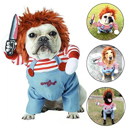TVMALL Deadly Doll Dog Clothes Pets Costume Halloween Cosplay for Small Dog Costumes Plus Hat Funny Dog Party Clothes Christmas Costume