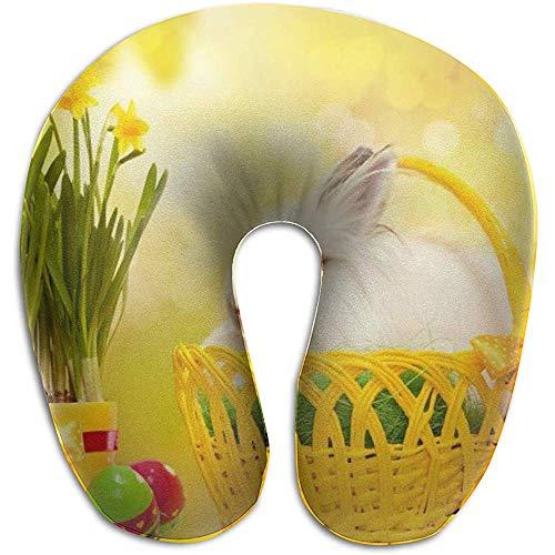 Simone-Shop Rabbit in The Basket Almohada para el Cuello en Forma de U Almohada de Viaje Suave para el Cuello para el hogar, Dolor de Cuello Almohada en Forma de U 29 * 30 * 10 cm