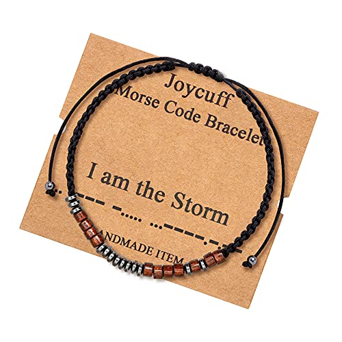 Inspirational Gifts for Women I Am the Storm Morse Code Bracelets for Women Secret Messages Wood Beads with Cord Jewelry Birthday Christmas Mother's Day Graduation Gifts for Her