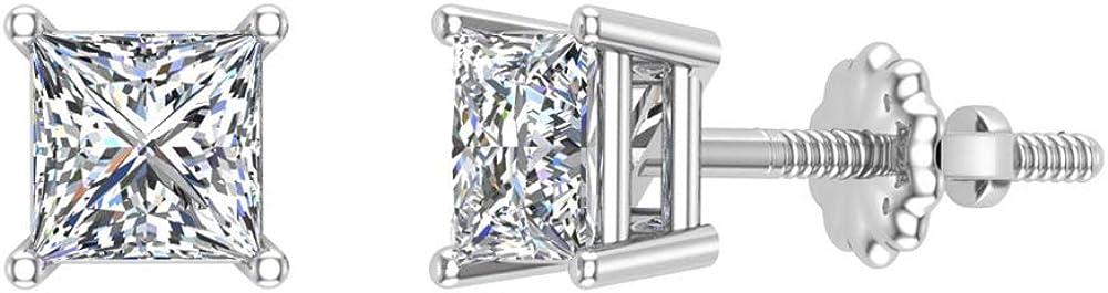 Diamond Earrings for Minneapolis Mall women-girls Princess 14K Gif Cut Gold 100% quality warranty! studs